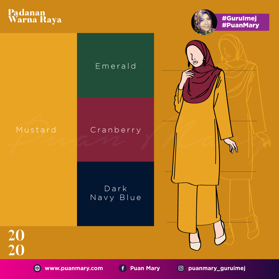 Padanan Warna Baju Dan Tudung Raya 2020 Puan Mary